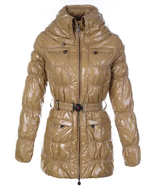 Moncler Women Down Coats Skinny Zip Decorative Belt Cream Colore