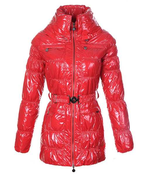 Moncler Women Down Coats Skinny Zip Decorative Belt Red