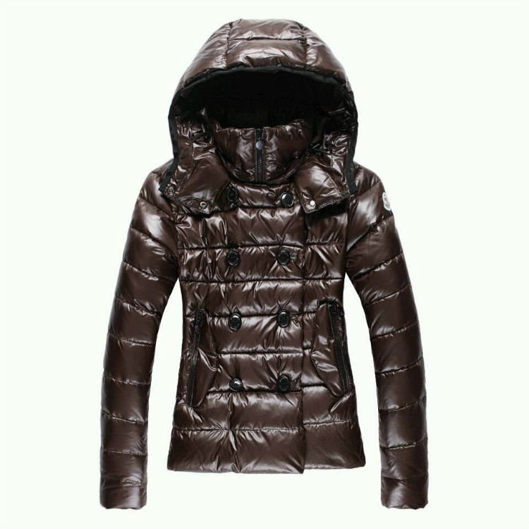 Moncler Women Down Double Breasted Jackets Brown