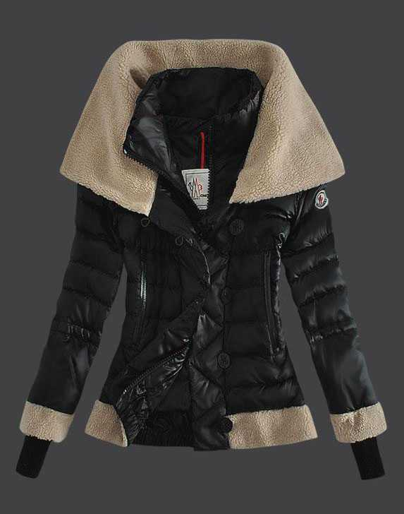 Moncler Women Down Jacket Double Stand Collar Black