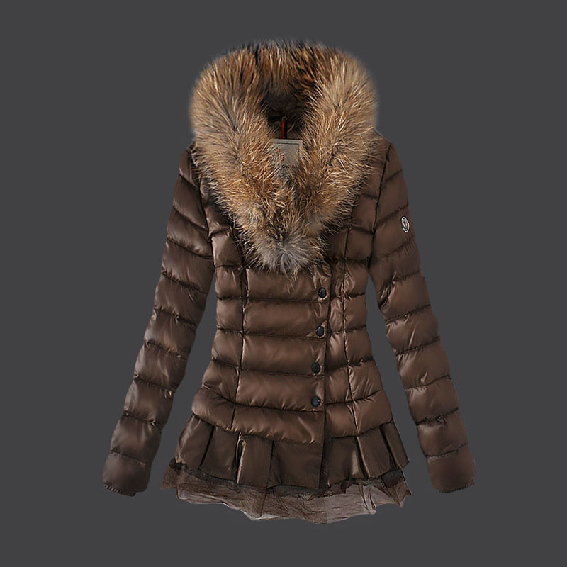 Moncler Women Down Jacket Single Breasted Lace Coffee