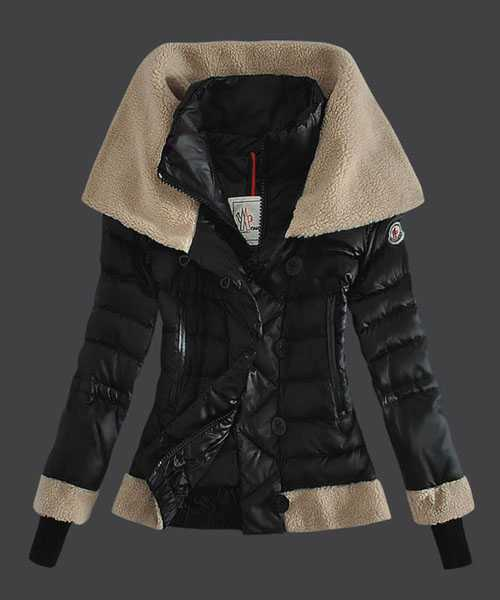 Moncler Women Down Jackets Double Stand Collar Black