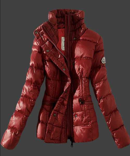 Moncler Women Down Jackets Stand Collar Red