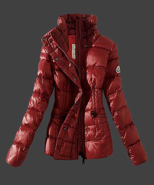 Moncler Women Down Jackets Stand Collar Slim Red