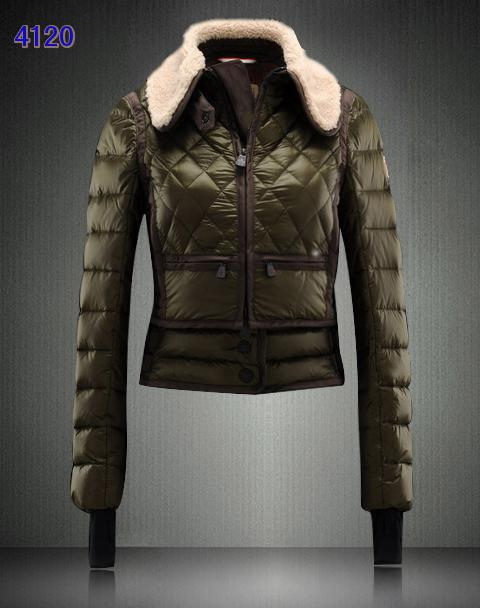 Moncler Women Fur Collar Down Jackets Army Green