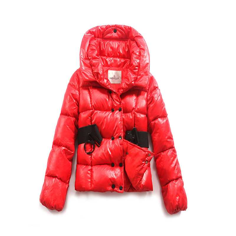 Moncler Women Jackets Double Breasted Decorative Belt Red