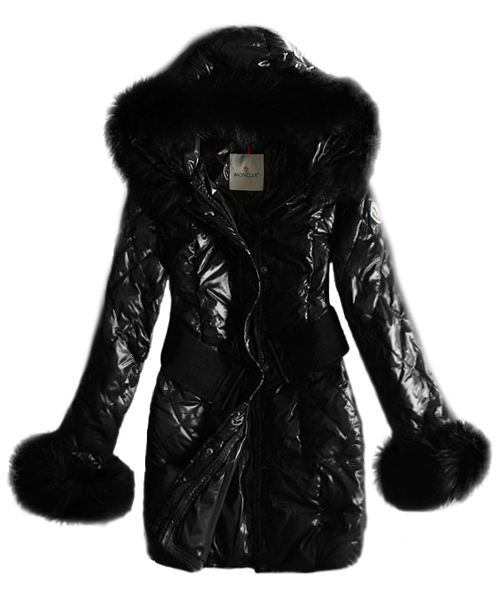 Moncler Womens Coat Long Belt Classic Black