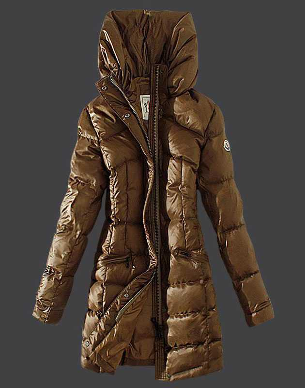 Moncler Womens Coats Stand Collar Windproof Khaki