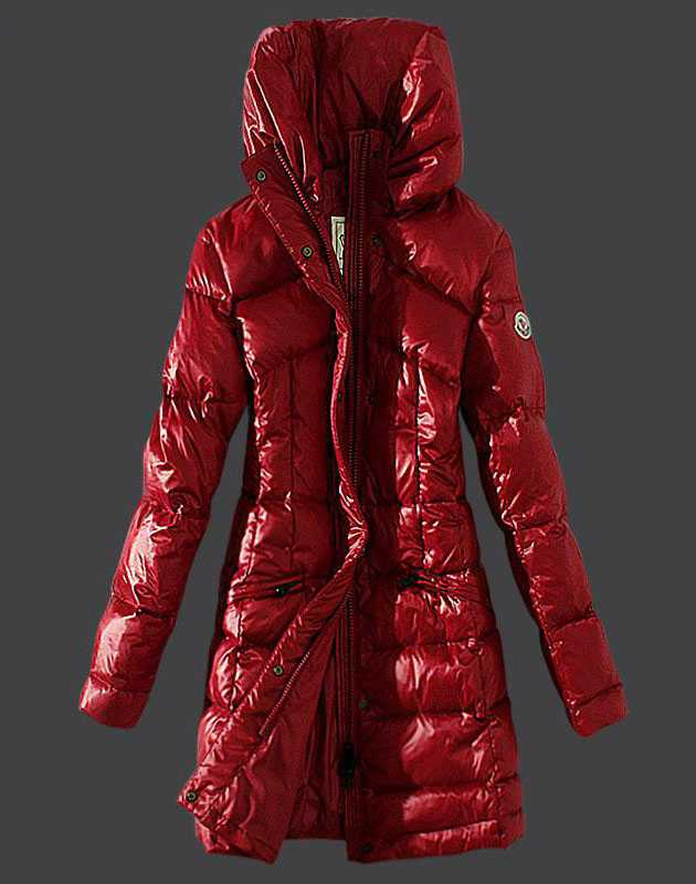Moncler Womens Coats Stand Collar Windproof Red