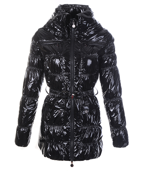Moncler Womens Down Coats Skinny Zip Decorative Belt Black