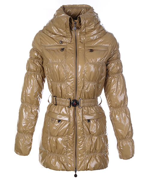 Moncler Womens Down Coats Skinny Zip Decorative Belt Cream-Color