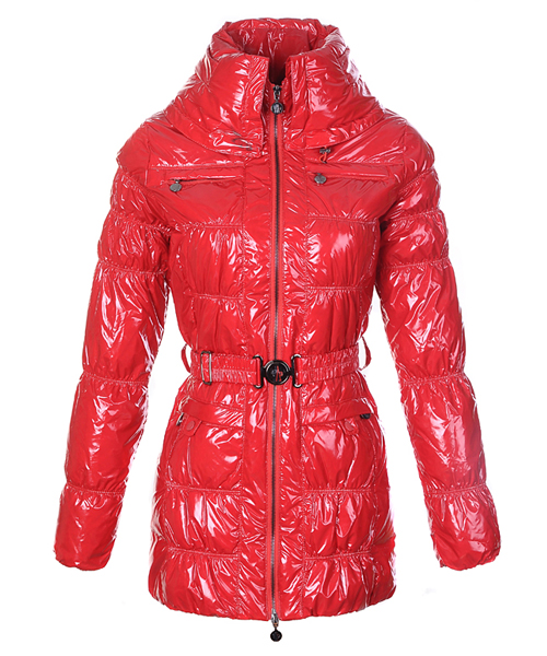 Moncler Womens Down Coats Skinny Zip Decorative Belt Red