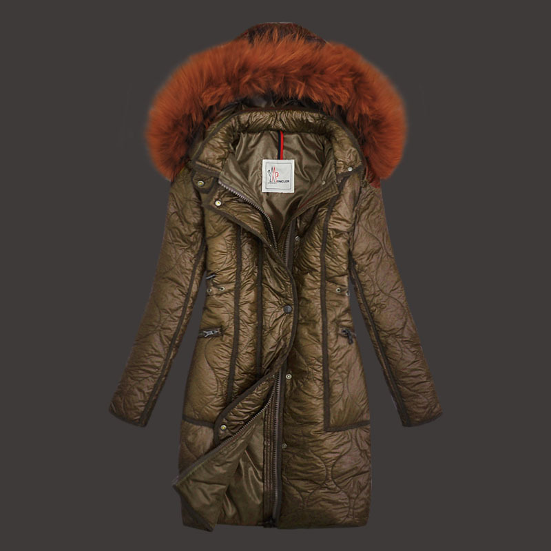 Moncler Womens Down Coats Windproof Khaki