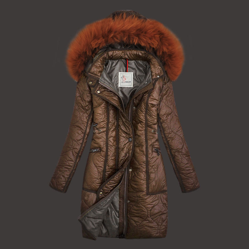 Moncler Womens Down Coats Windproof Light Coffee