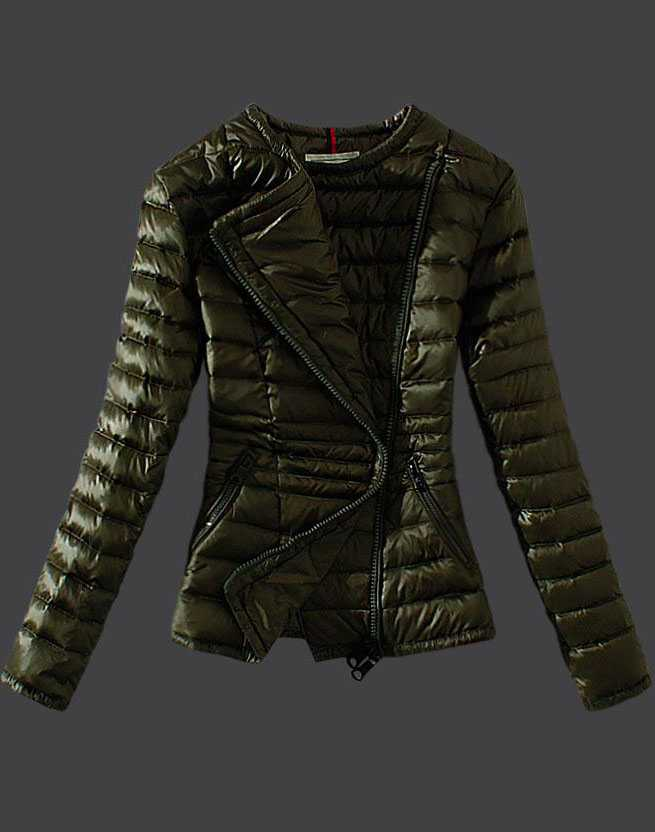 Moncler Womens Down Jackets Featured Zip Army Green
