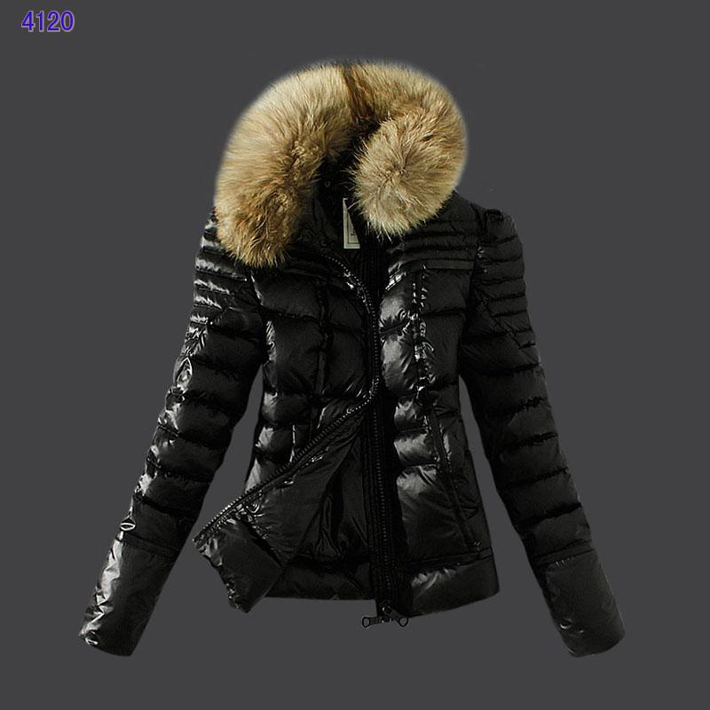 Moncler Womens Down Jackets Zip Fur Collar Black