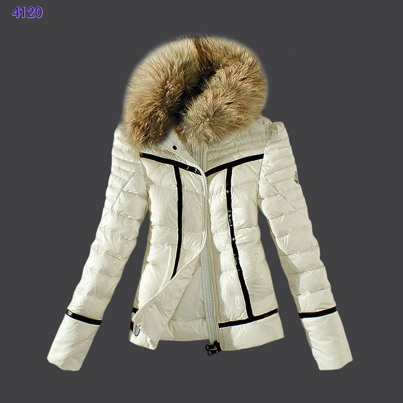 Moncler Womens Down Jackets Zip Fur Collar White