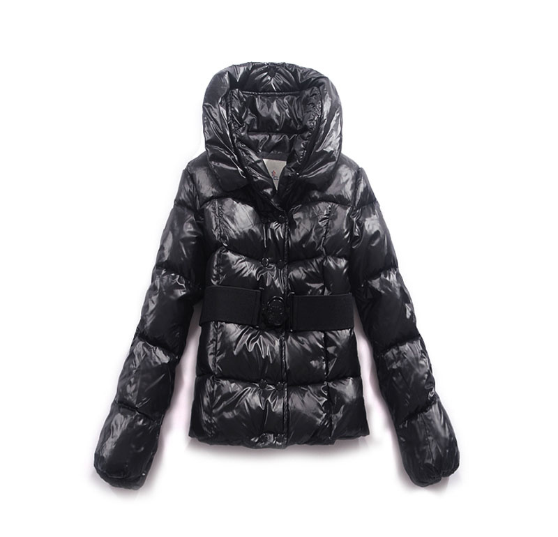Moncler Womens Jackets Double-Breasted Decorative Belt Black