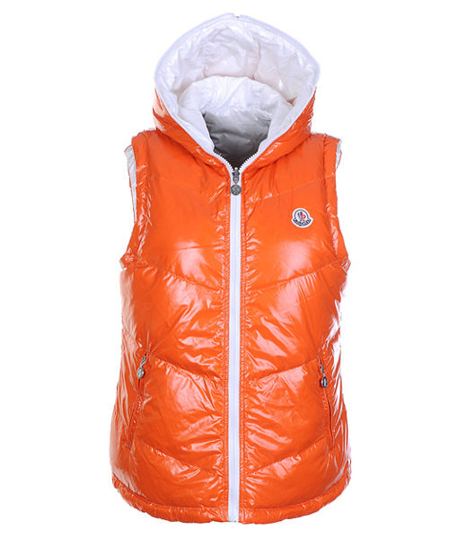 Moncler Womens Sleeveless Vests Double-Sided Orange