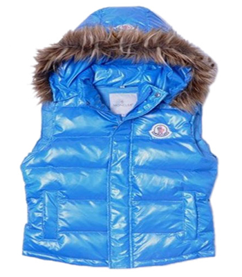 Moncler Women's Fleece Hooded Vest Blue