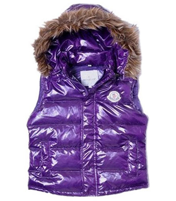 Moncler Women's Sleeveless Fleece Hooded Jacket Purple