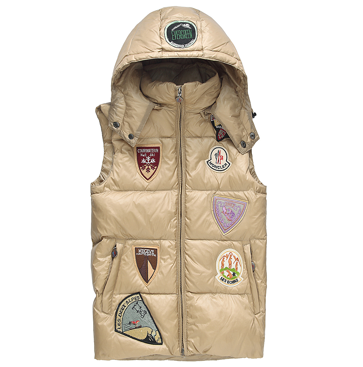 Moncler k2 Multiple Logo Men Down Vest Hooded Black khaki