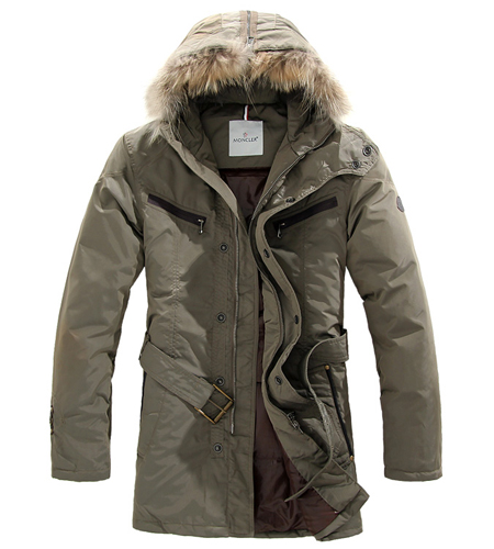 Moncler men's coat fur hat khaki
