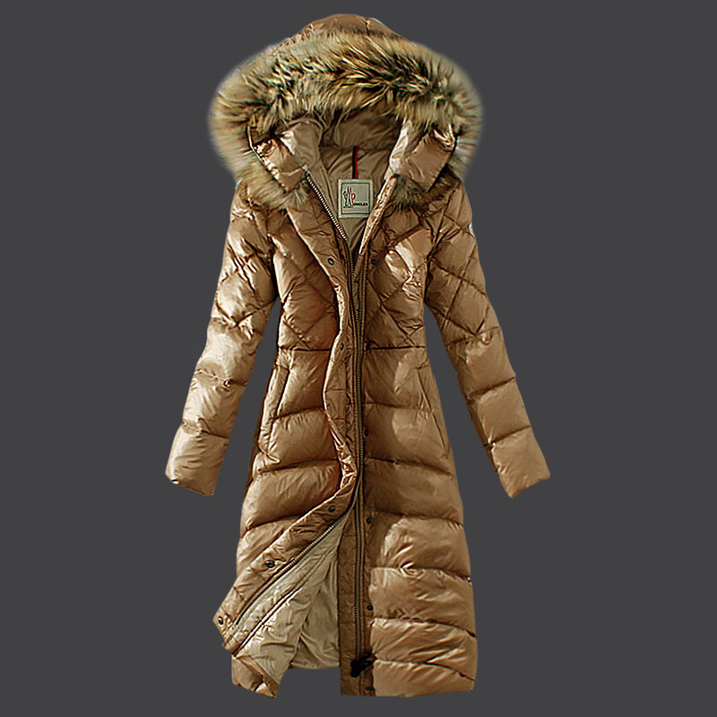 Moncler women coats winter beige fur hat