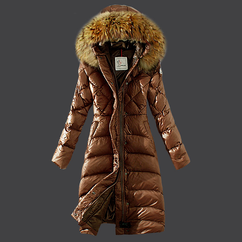 Moncler women coats winter fur hat Brown