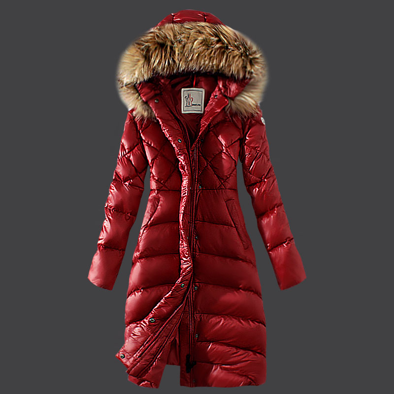 Moncler women coats winter red fur hat