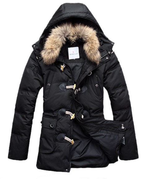 Moncler men coats black fur collar button
