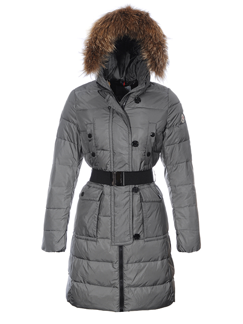 Moncler Coats for Women Gray Fur Hooded Jacket