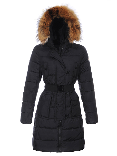 Moncler Coats For Women Black Fur Hood