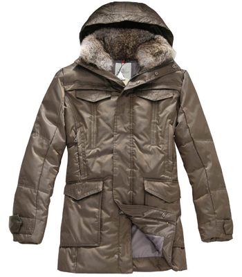 Moncler men down coats with hood mid-length coffee