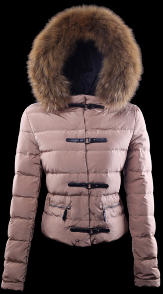 Moncler jacket for women fur hood Brown