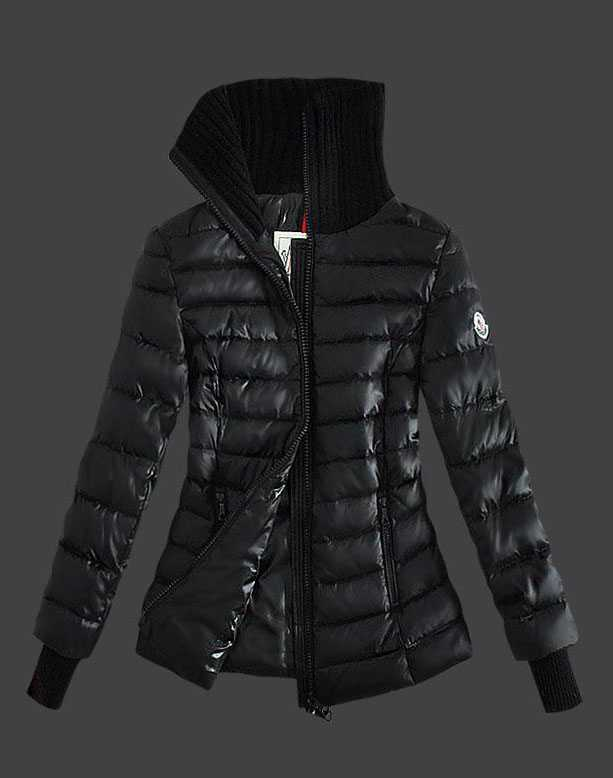 New Moncler Down Jackets For Womens Zip Stand Collar Black