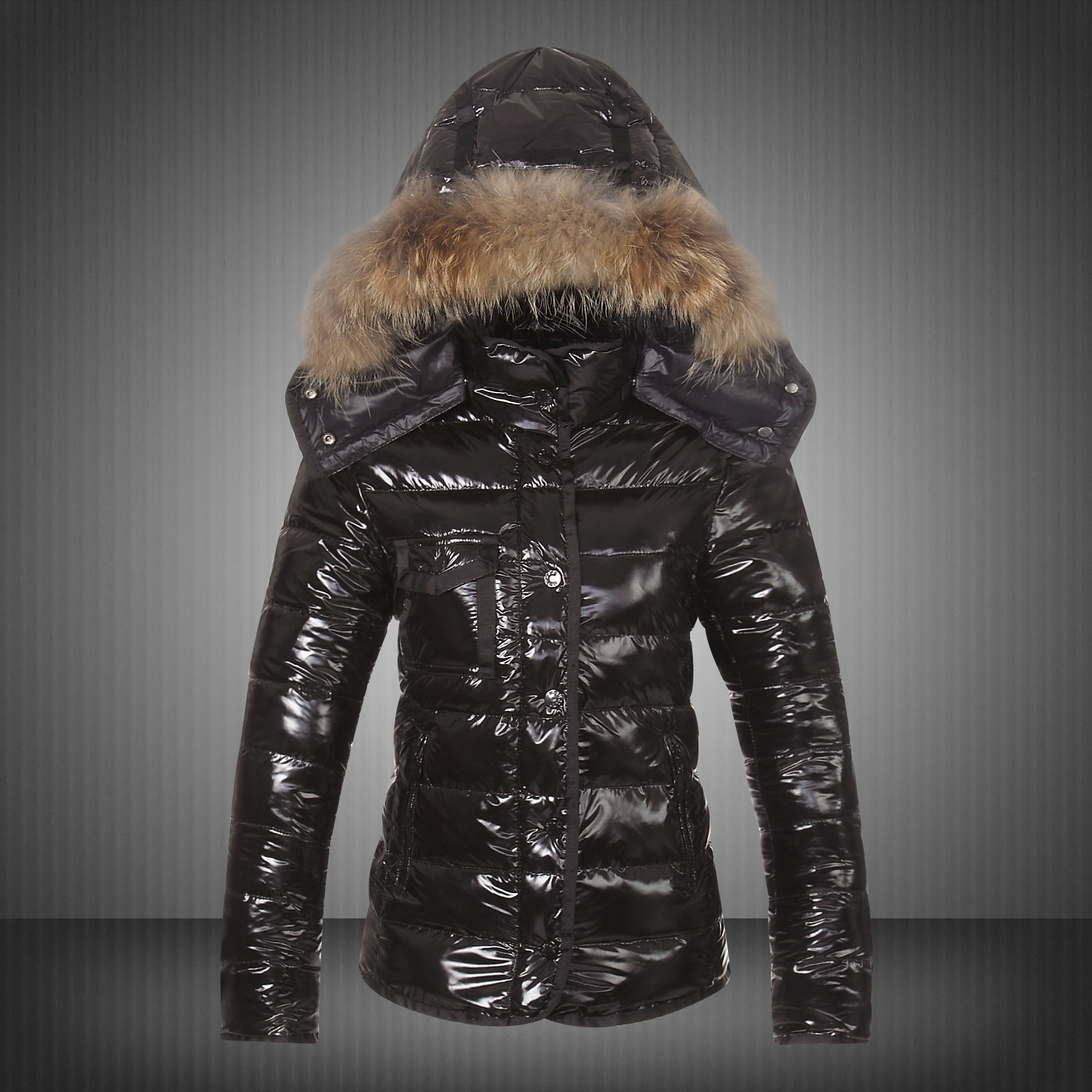 New Moncler Jackets For Women Black With Fur Cap UK