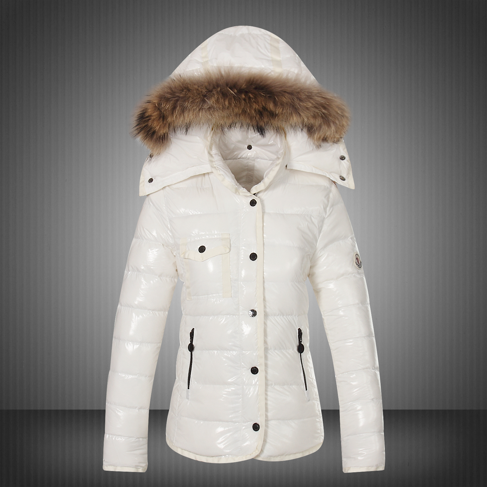 New Moncler Jackets For Women White With Fur Cap UK