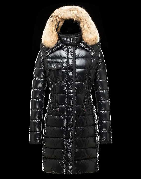 New Moncler Long Coats Fur Collars For Women Black