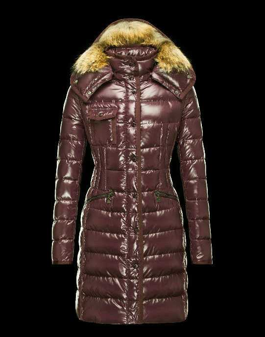 New Moncler Long Coats Fur Collars For Women Coffee