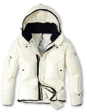 Moncler Men Down Jacket White Hoodie
