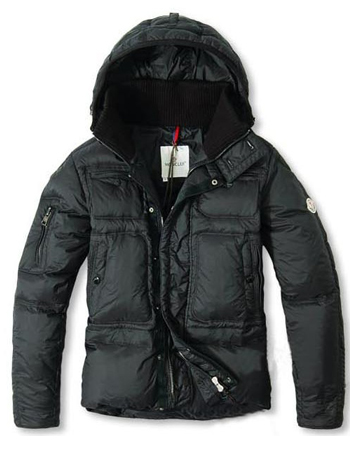 Moncler Down Jacket Black Hooded