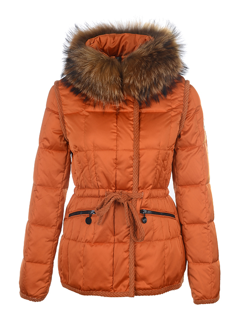 Price Moncler Women's Fur Collar Short Jacket Orange