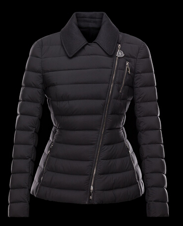 Moncler Down Jacket Women Biker Zip Col Black