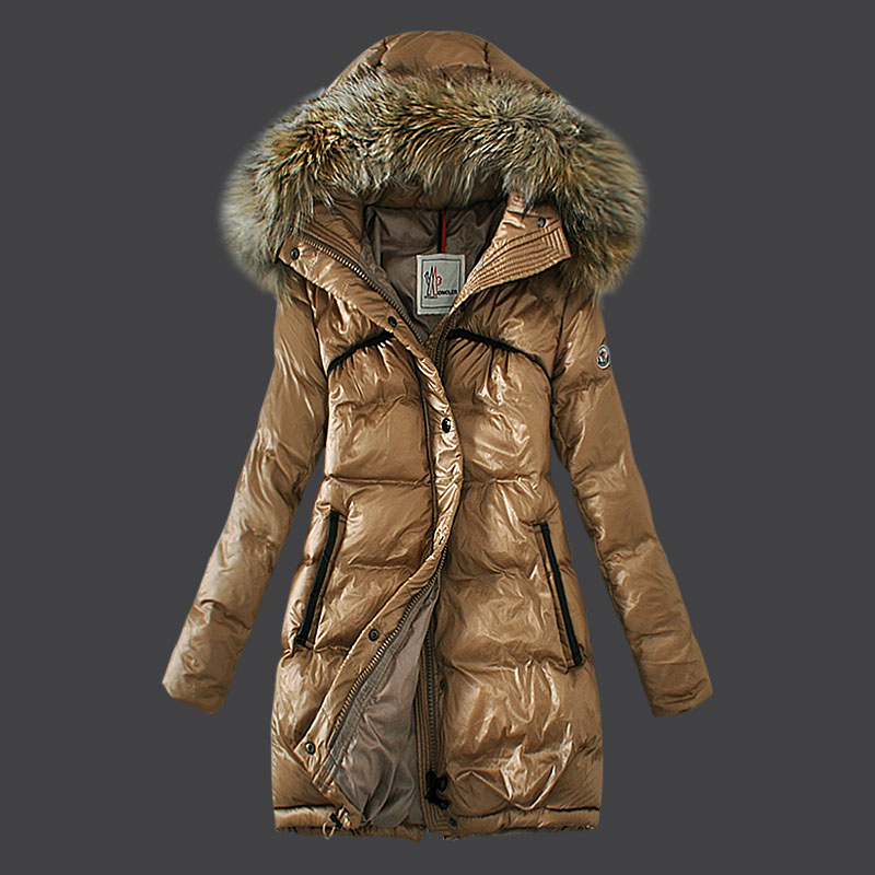 Moncler Jacket Women Coat fur Hooded Beige