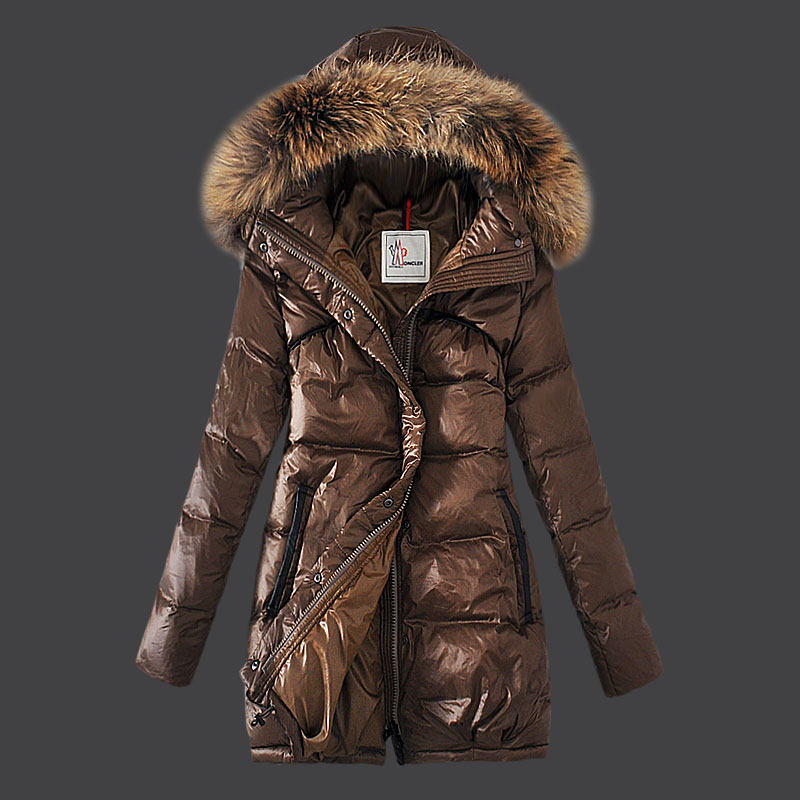 Moncler Jacket Women Coat fur Hooded Coffee