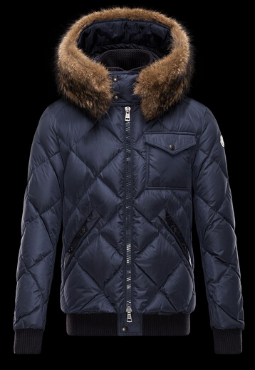 Moncler Men's Harrison Fur Hooded Jacket Blue