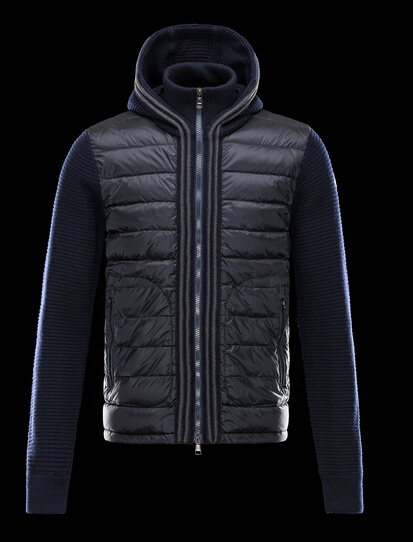 Moncler Men Cardigan Down Jacket Blue