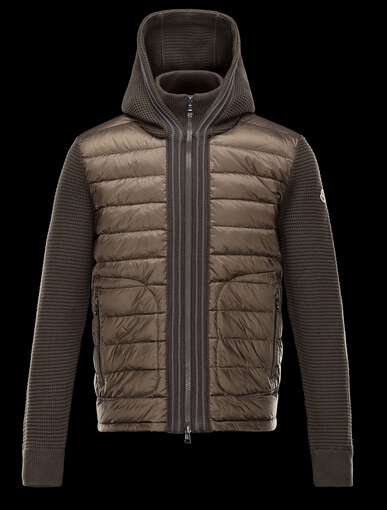 Moncler Men Cardigan Down Jacket Men Khaki