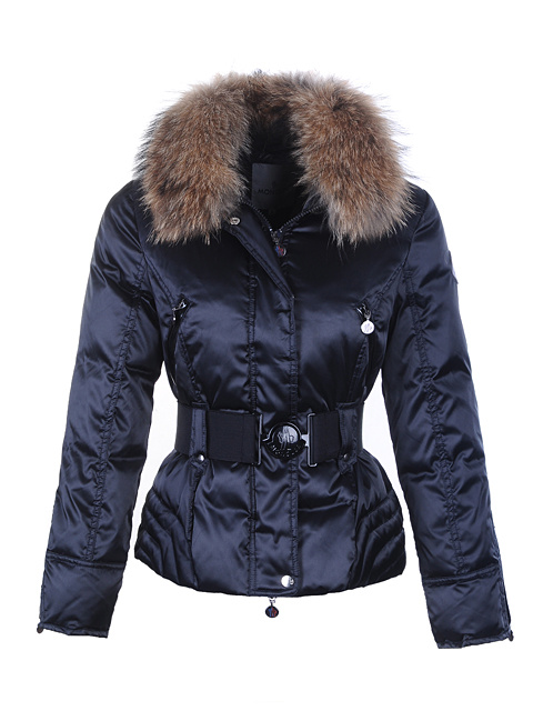 Moncler Down Jackets Women Fur Collar Blue